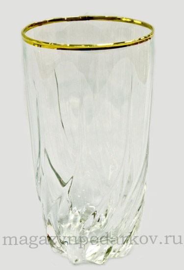 Набор 6 стаканов для воды 470 мл Cre Art Отводка золото