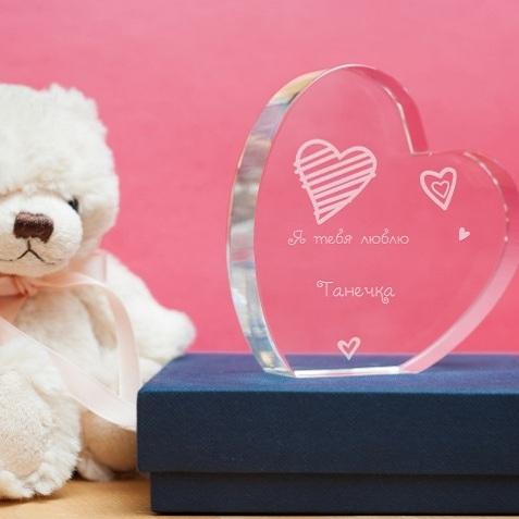 Стеклянная награда сердце Любовь