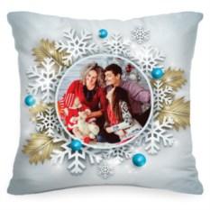 Подушка с вашим фото «Снежинка»