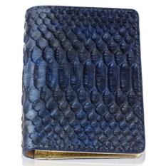 Синий кошелек ручной работы из кожи питона