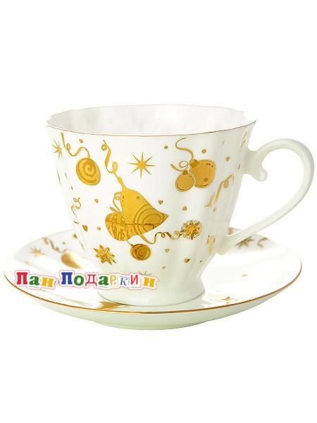 Чайная чашка с блюдцем Веселый праздник