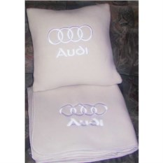 Бежевый плед с белой вышивкой Audi