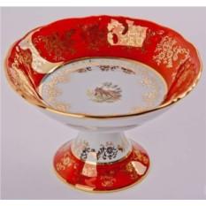 Салатник на ножке Охота красная Bavarian Porcelain