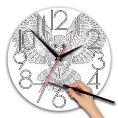 Круглые часы-раскраска с изображением совы