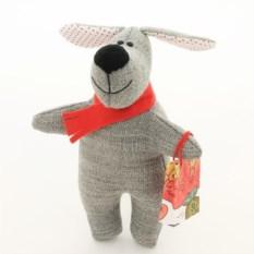 Новогодняя игрушка ручной работы Собака серая