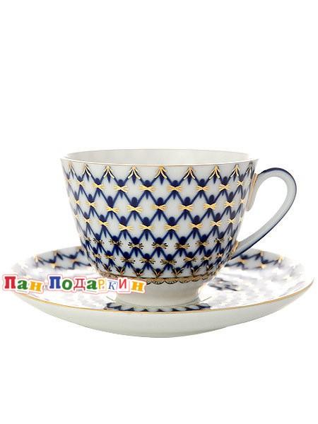 Чайная чашка с блюдцем Кобальтовая сетка