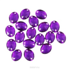 Стразы пришивные Астра, овальные, темный пурпур, 18 шт