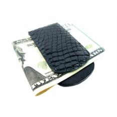 Черная прищепка с магнитом для денег из кожи крокодила
