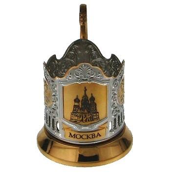 Подстаканник с позолотой «Храм Василия Блаженного»