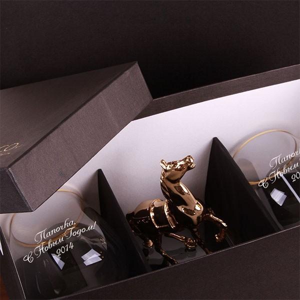 Набор бокалов для коньяка Золотая лошадь