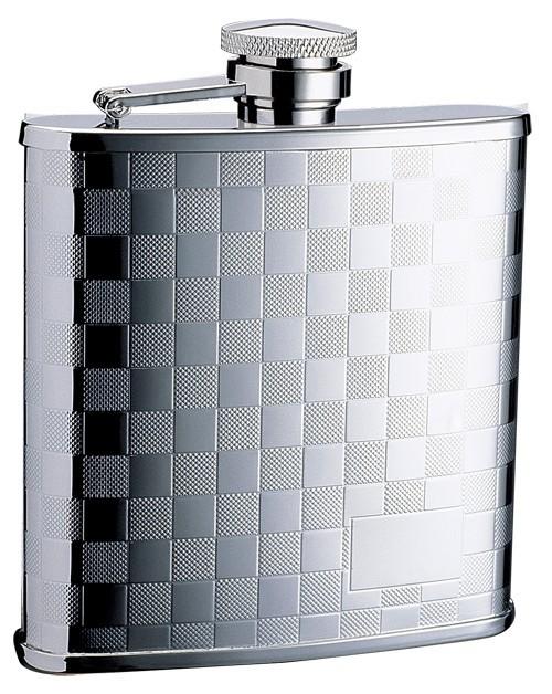 Металлическая фляга S.Quire, узор из квадратов