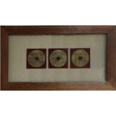 Картина фэн шуй интерьерная 3 счастливые монетки