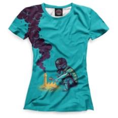 Голубая женская футболка Psychedelic