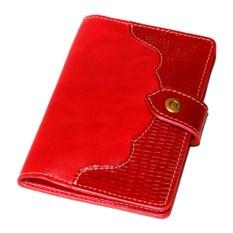 Красное портмоне для документов с отделениями для карт