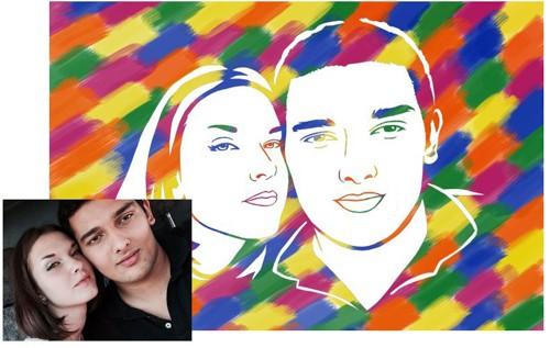 Живописный рисунок для молодоженов на свадьбу