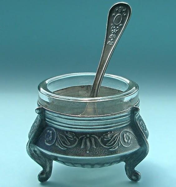 Винтажная солонка из мельхиора Миледи