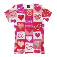 Яркая мужская футболка Сердца
