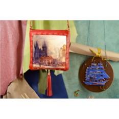 Красная сумка-планшет Сумеречный пейзаж Elole Design