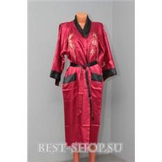 Двусторонний красный китайский халат с вышивкой Дракон