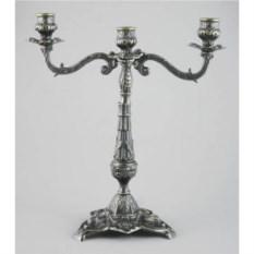 Латунный канделябр на 3 свечи, размер 32x30x6 см