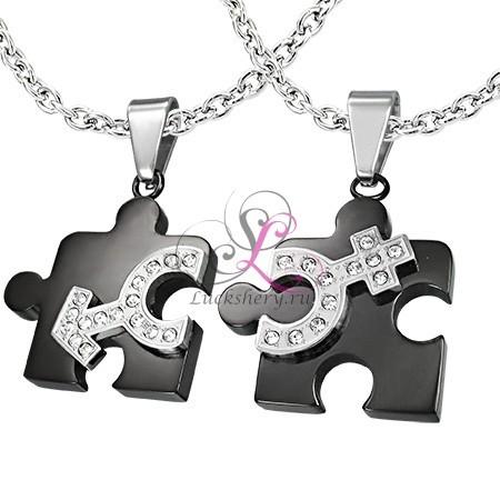 Двойные кулоны головоломки Две половинки любви