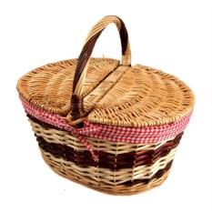 Корзина для пикника с деревянными вставками