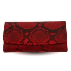 Женский кошелек из кожи питона (цвет - красный)