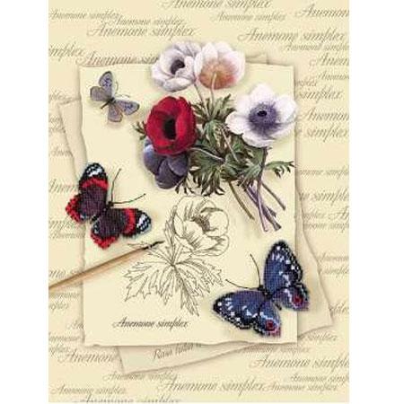 Набор для вышивания «Бабочки с анемонами»