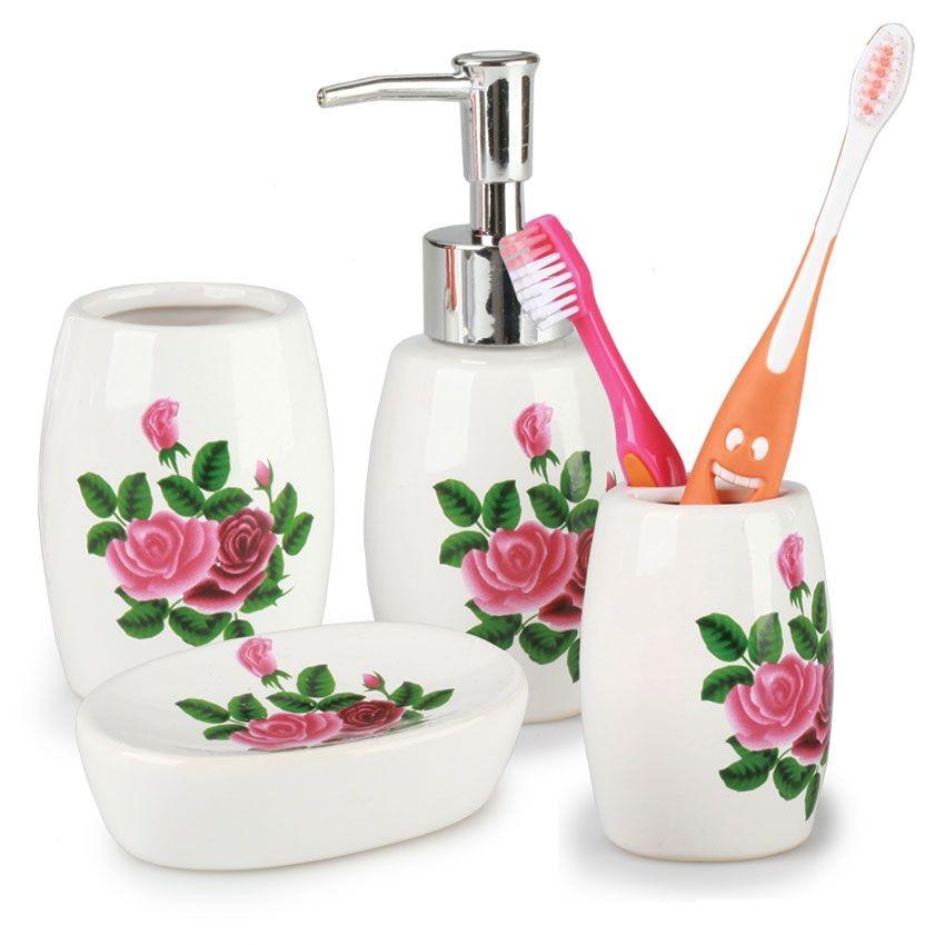 Набор принадлежностей для ванной комнаты Розочки