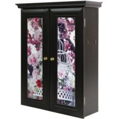 Декоративный настенный шкафчик Яблоня в цвету,клетка венге