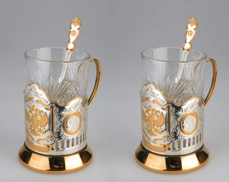 Набор: 2 стакана с подстаканниками «Герб России»