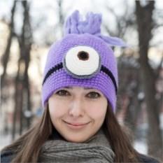Вязанная шапка Фиолетовый Миньон