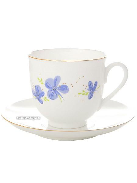 Фарфоровая кофейная чашка с блюдцем Голубые цветы