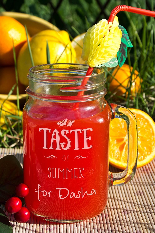 Кружка-банка с вашим текстом Taste of summer