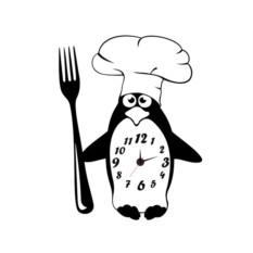 Настенные часы-наклейки Пингвин