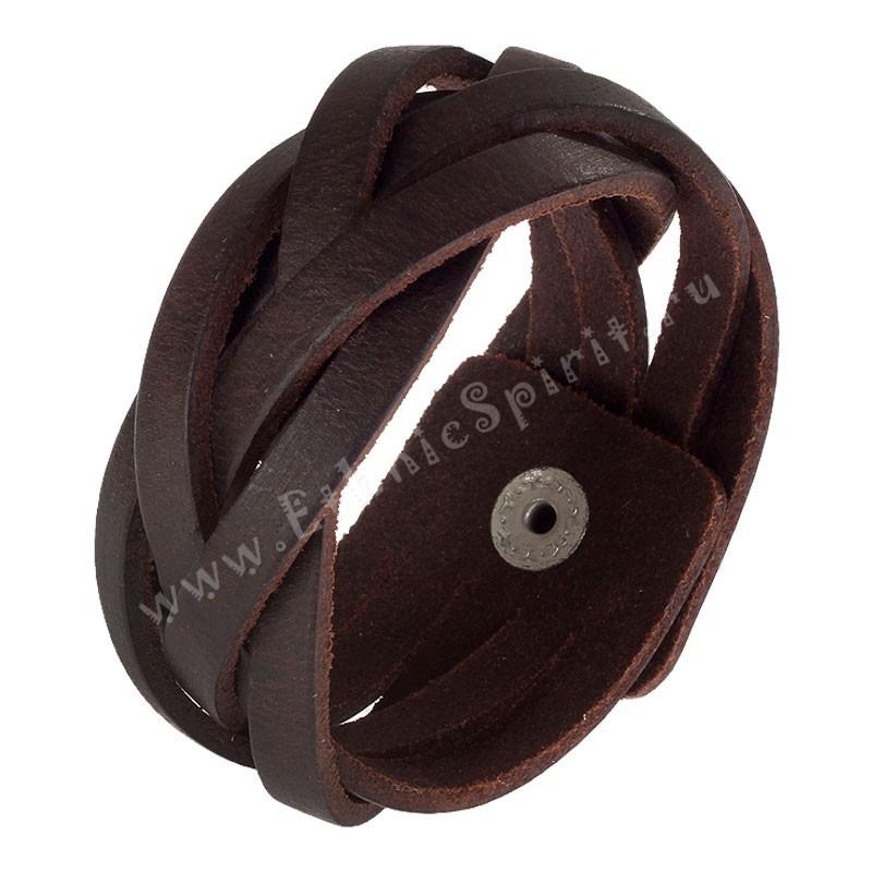 Кожаный плетеный браслет, коричневый
