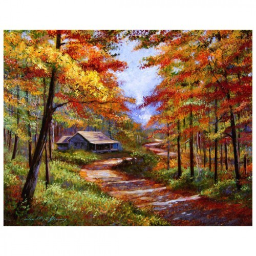 """Картина-раскраска по номерам на холсте """"Дом в осеннем лесу"""""""
