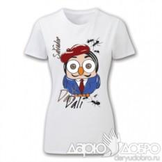 Белая женская футболка с совой Дали от Goofi