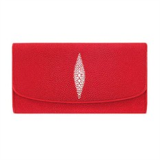 Красный женский кошелек из кожи ската