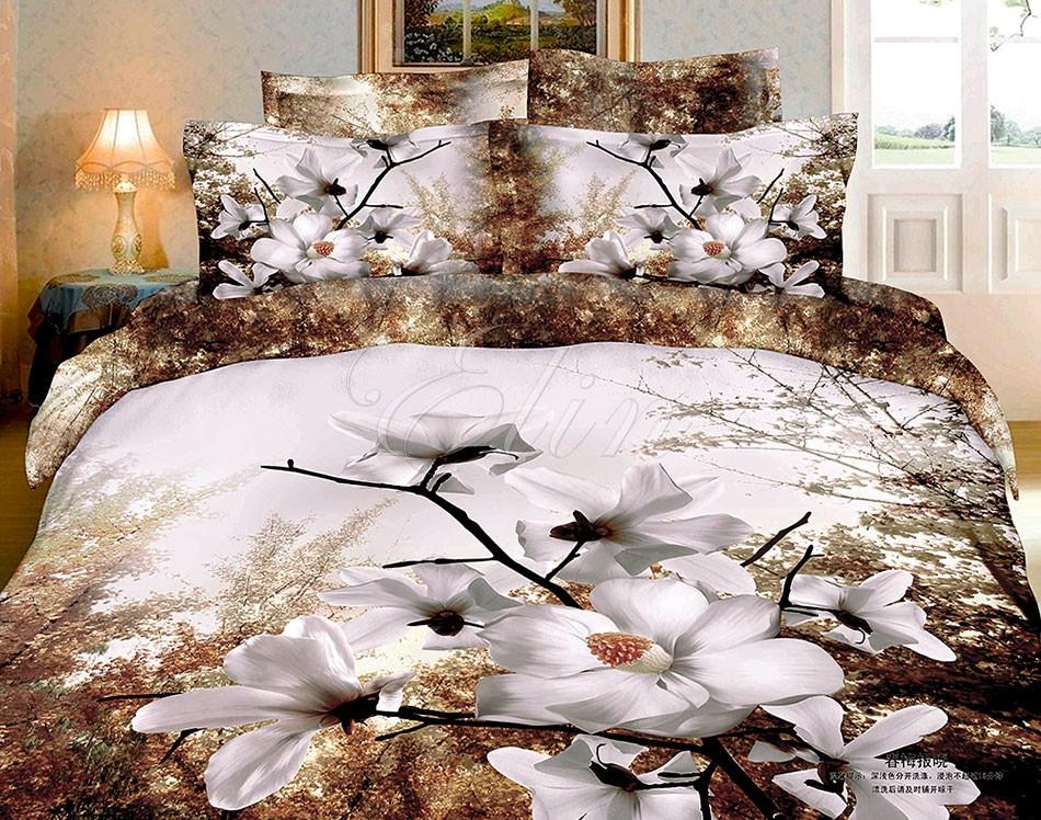 Сатиновое постельное белье Цветущий сад (Elin)