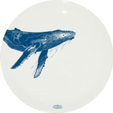 Тарелка из костяного фарфора Горбатый кит (Студия Холмы)