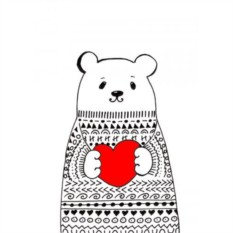 Открытка Медведь в свитере. Сердце