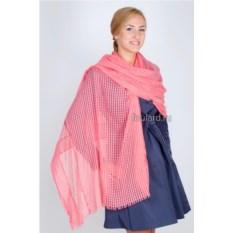 Розовый однотонный палантин из хлопка Laura Milano