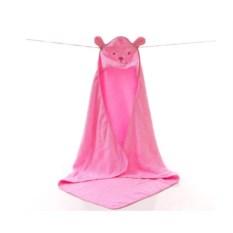 Розовое махровое полотенце с капюшоном Цветной Мишка