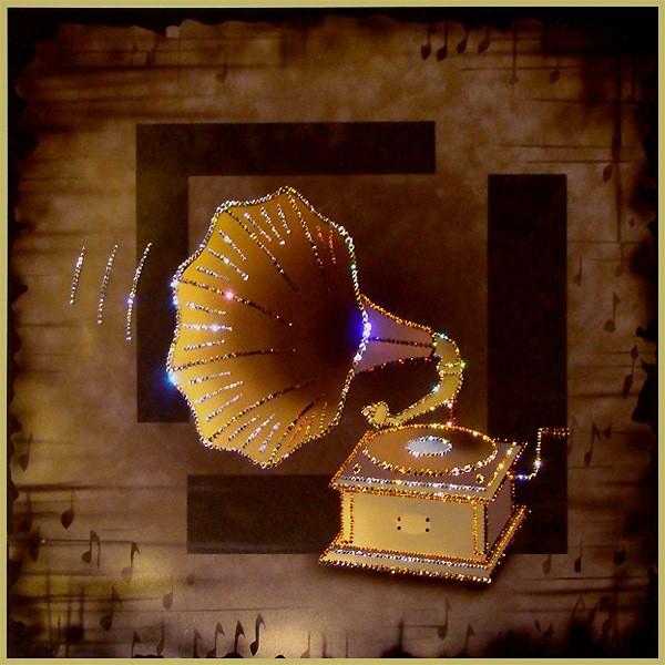Картина с кристаллами Swarovski Патефон