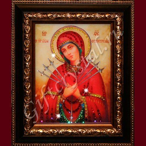Картина из кристаллов Swarovski Икона Божией Матери Семистрельная