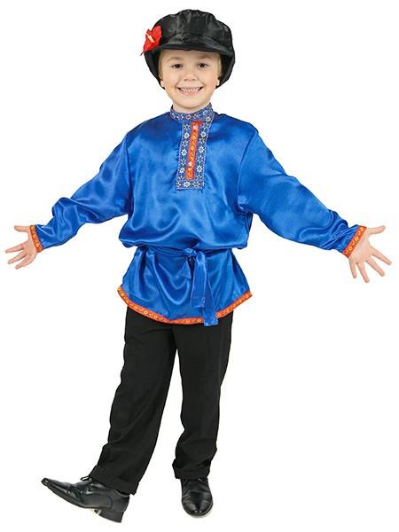Синяя детская косоворотка из атласа