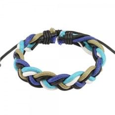 Плетеный браслет из разноцветной кожи Spikes