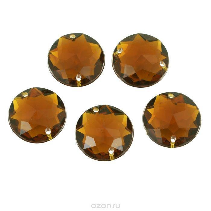 Пришивные стразы Астра, акриловые, круглые, медные, диаметр 20 мм, 5 шт