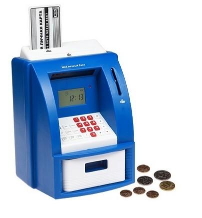 Копилка «Личный банкомат», синяя